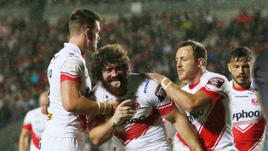 Kyle Amor (centre) joined St Helens from Wakefield in late 2013