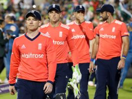 England's Eoin Morgan leads his players off the pitch after losing against Pakistan