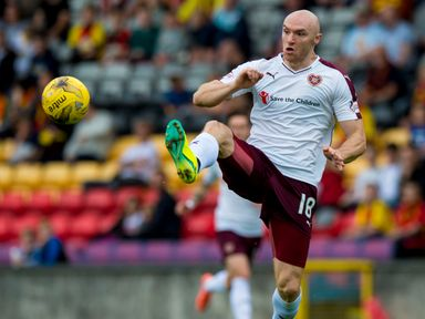 Conor Sammon in action for Hearts