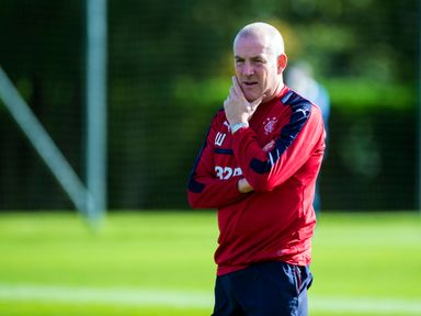 Mark Warburton looks on during Rangers' training session