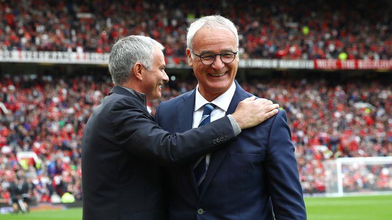 Jose Mourinho (L) embraces Claudio Ranieri before kick-off
