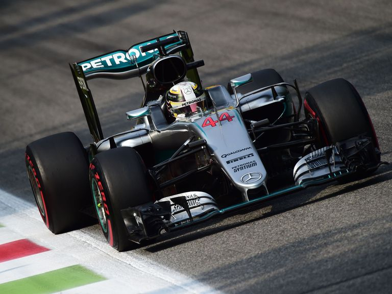 Mercedes' Lewis Hamilton celebrates qualifying in pole position. Reuters / Max Rossi