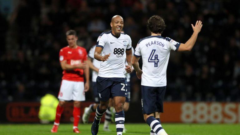 Alex Baptiste celebrates his goal