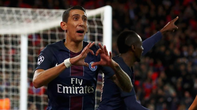 Angel Di Maria celebrates his opener for PSG against Basel