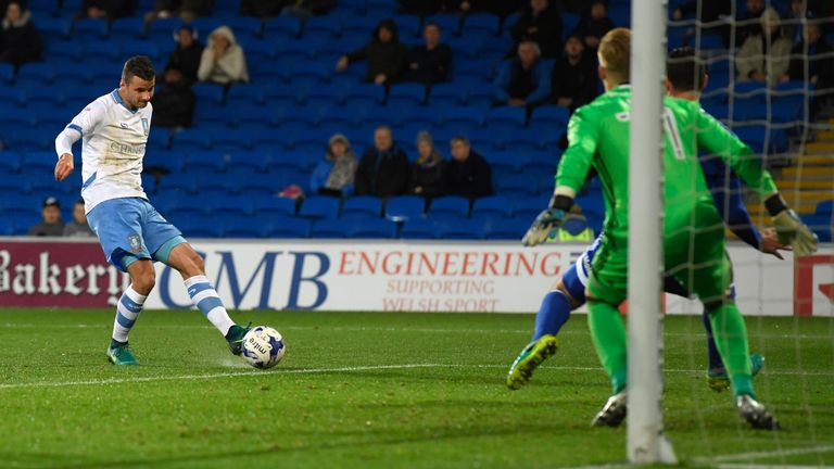 Daniel Pudil scores for Sheffield Wednesday at the Cardiff City Stadium