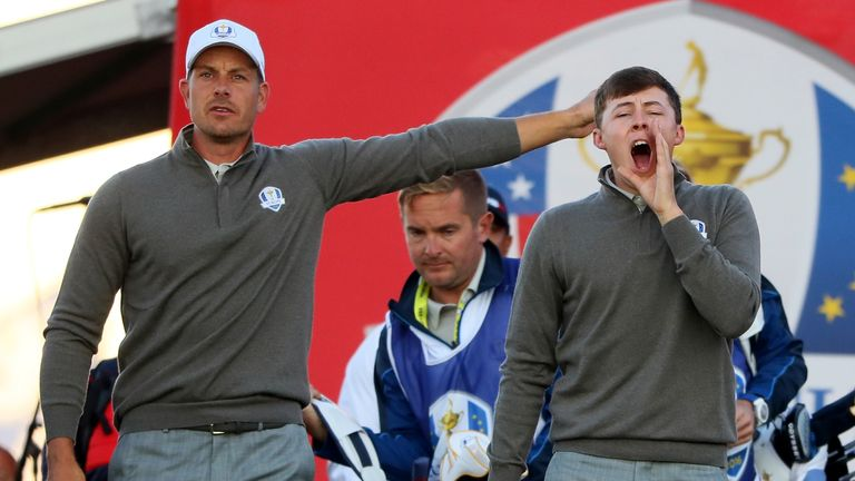 Fitzpatrick (right) failed to win a point from his two matches at the 2016 Ryder Cup