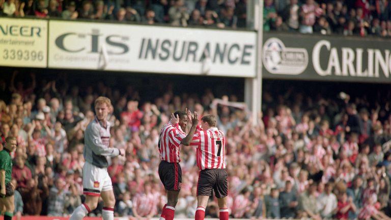 Ken Monkou and Matt Le Tissier celebrate Southampton's opening goal