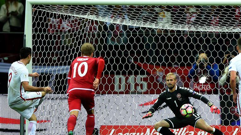 Robert Lewandowski scores from the penalty spot against Denmark