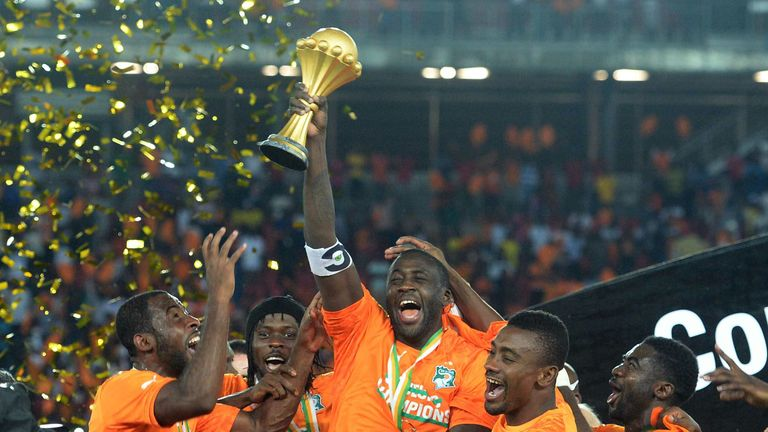 Yaya Toure celebrates after the Ivory Coast won last year's Africa Cup of Nations