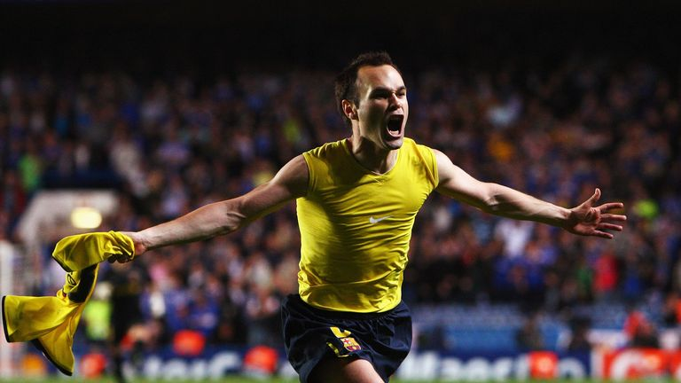 Andres Iniesta celebrates after scoring against Chelsea in the 2009 semi-final