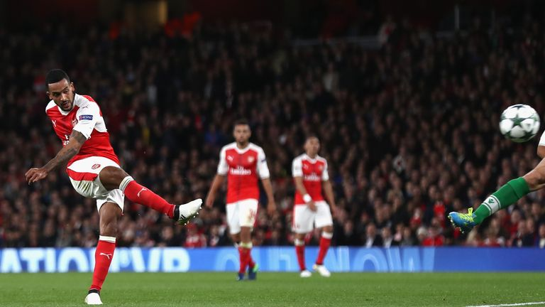 Theo Walcott fires his eighth goal of the season