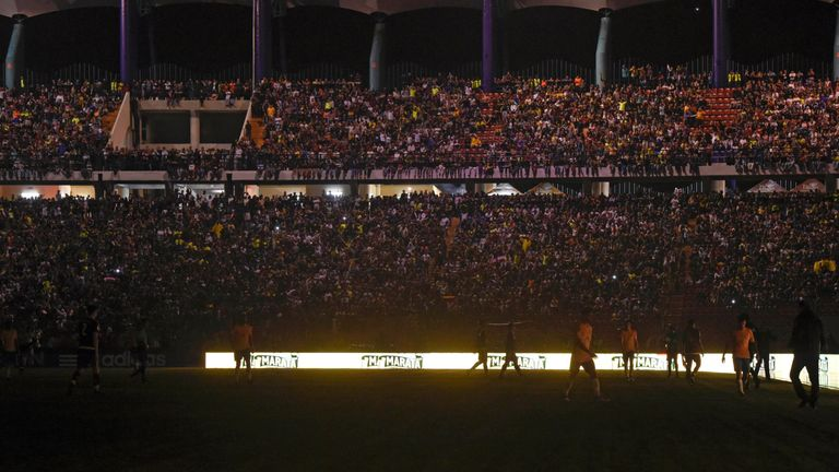 A blackout occurred during the match between Brazil and Venezuela, in Merida, Venezuela