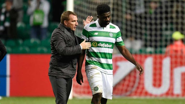 Rodgers consoles Kolo Toure after the final whistle on Wednesday night