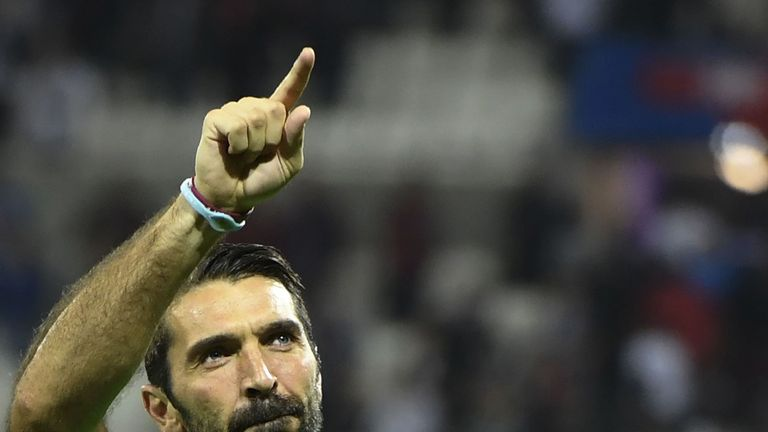 Gianluigi Buffon celebrates Juventus' Champions League win over Lyon