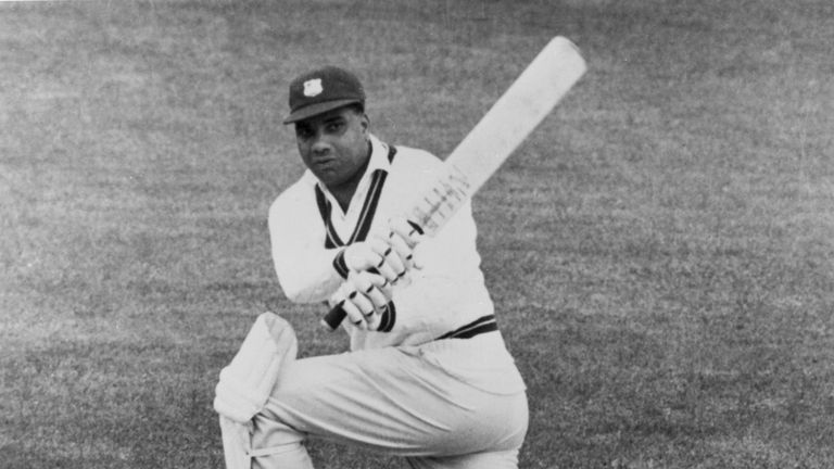 West Indies cricketer Clyde Walcott.  (Photo by Hulton Archive/Getty Images, circa 1955)