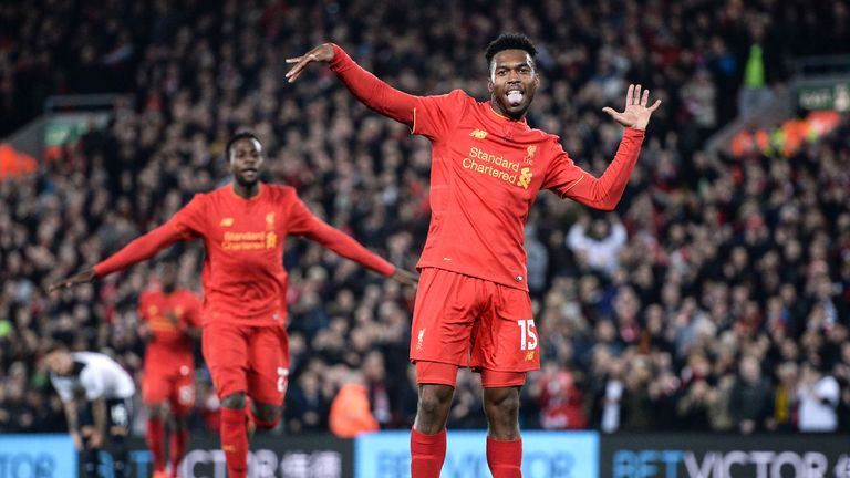 Daniel Sturridge celebrates his second goal against Tottenham in the last round