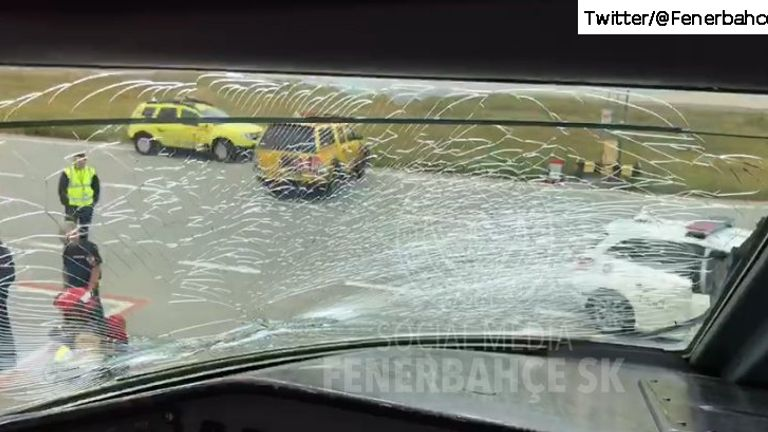 An image on the official Fenerbahce SK Twitter account (@Fenerbahce) shows damage to the cockpit window