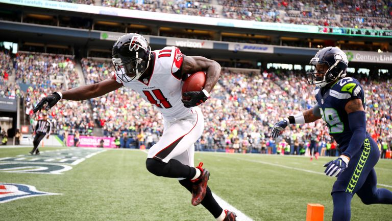 Wide receiver Julio Jones has over 1,100 yards but is yet to score multiple touchdowns in a game this season. Can he make it happen against the Chiefs?