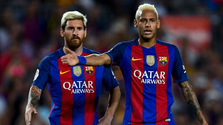 Neymar admits Lionel Messi (left) and the rest of his team-mates will need to be wary of Leicester if they meet in the Champions League