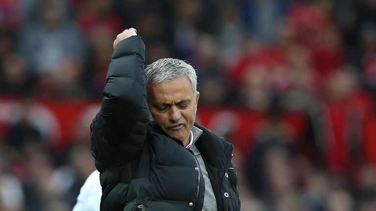 Jose Mourinho protests after his side weren't awarded a penalty