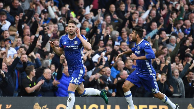 Cahill celebrates after scoring Chelsea's second goal