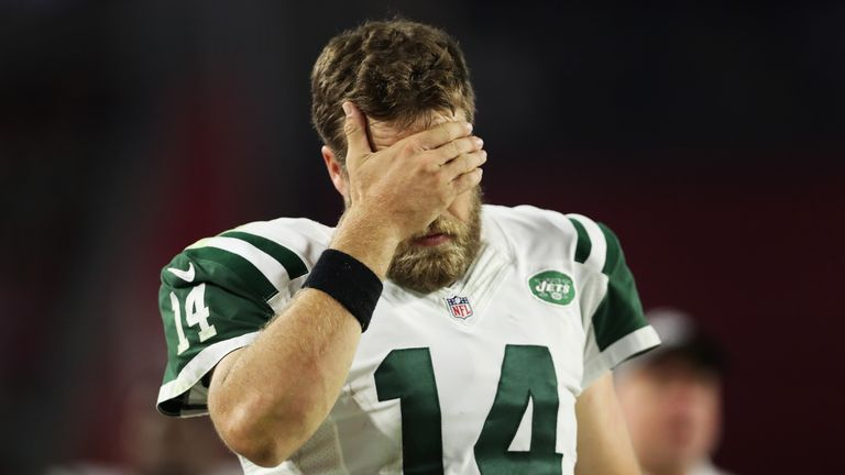 Quarterback Ryan Fitzpatrick was benched late in New York's 28-3 loss at Arizona