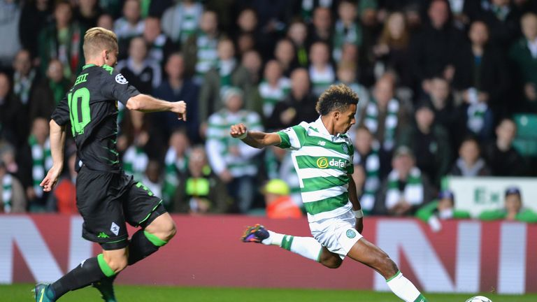 Scott Sinclair shoots on goal at the end of the first half
