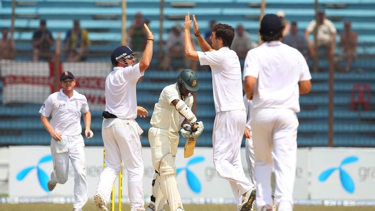 Steven Finn celebrates taking his first Test wicket on debut in Bangladesh