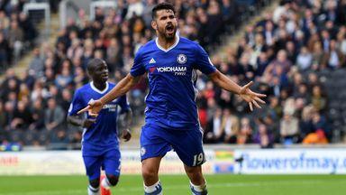 Diego Costa celebrates scoring Chelea's second at Hull