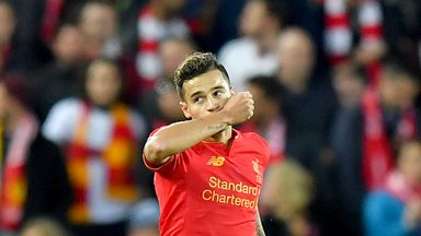 Liverpool's Philippe Coutinho celebrates after scoring the Reds' second goal