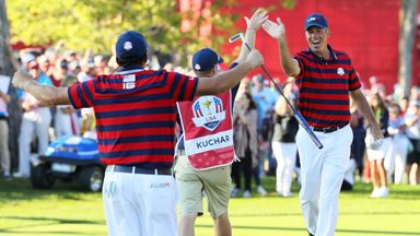 CHASKA, MN - OCTOBER 01:  Phil Mickelson and Matt Kuchar of the United States reacts after a putt by Kuchar on the 13th green during afternoon fourball mat
