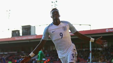 Tammy Abraham scored twice on his first start for England's U21s