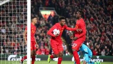 Liverpool's Daniel Sturridge celebrates scoring his side's first goal