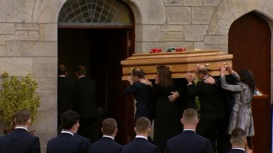 Anthony Foley's coffin taken into his local church in Killaloe, Co Clare