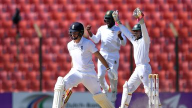Gary Ballance is dismissed in the first Test