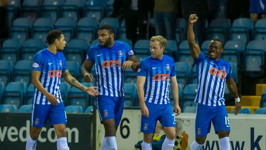 Kilmarnock's Souleymane Coulibaly (R) celebrates with team mates after scoring against Hearts