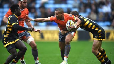 Wasps' Christian Wade and Jimmy Gopperth tackle their soon-to-be team-mate Marcus Watson