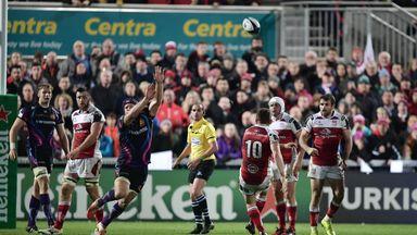 Paddy Jackson kicks the winning drop goal for Ulster