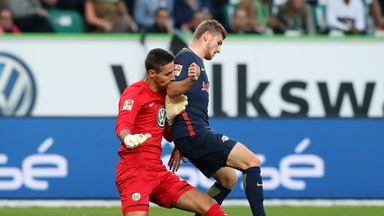 Leipzig's Timo Werner is fouled by Wolfsburg goalkeeper Koen Casteels