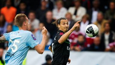 Pontus Jansson (left) chases Zlatan Ibrahimovic during a pre-season friendly in 2011