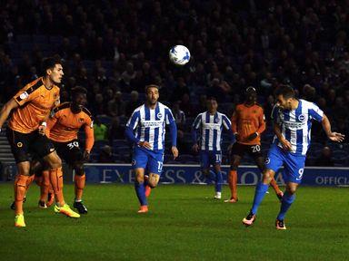 Sam Baldock of Brighton scores the opening goal against Wolves