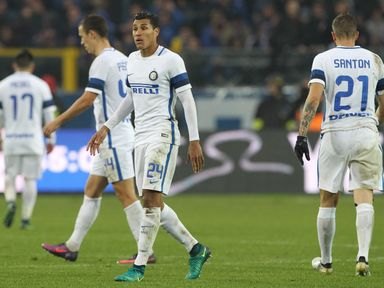 Jeison Murillo and Davide Santon show their dejection at the end of the match