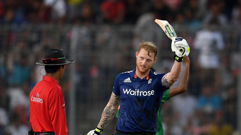 Ben Stokes celebrates reaching his century during the 1st ODI between Bangladesh and England