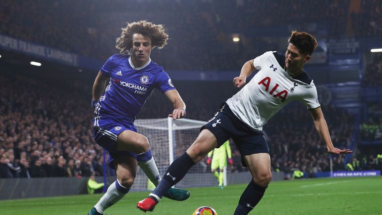 David Luiz (left) and Son Heung-Min compete for the ball