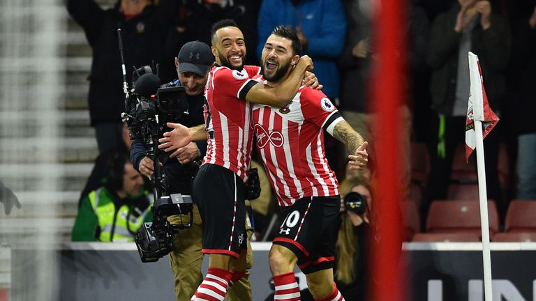 Nathan Redmond celebrates with Charlie Austin after 1-0 win over Everton