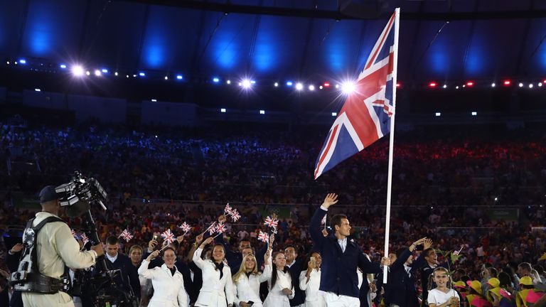 Andy Murray of Great Britain carried the flag during the Opening Ceremony of the Rio 2016 Olympic Games