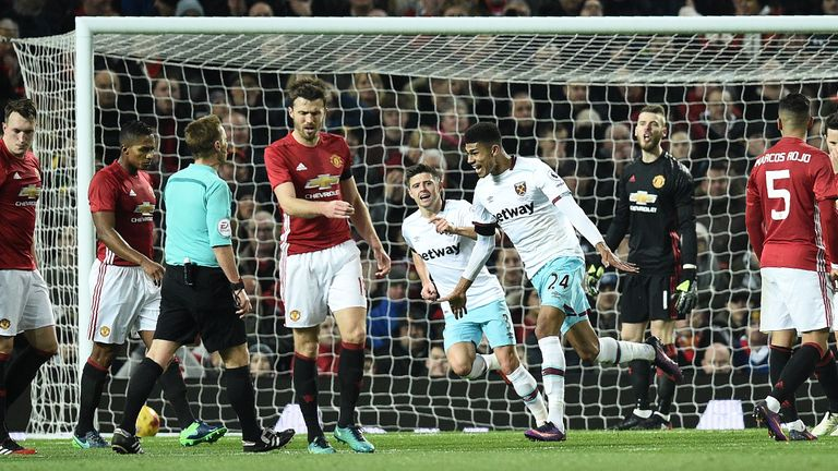 Former United man Ashley Fletcher equalises for West Ham at Old Trafford