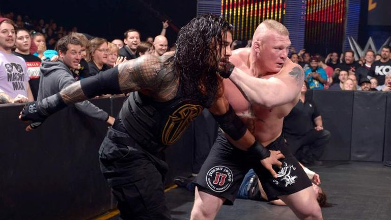 Reigns and Lesnar squared off at Fastlane 2016 in a match which also included Dean Ambrose