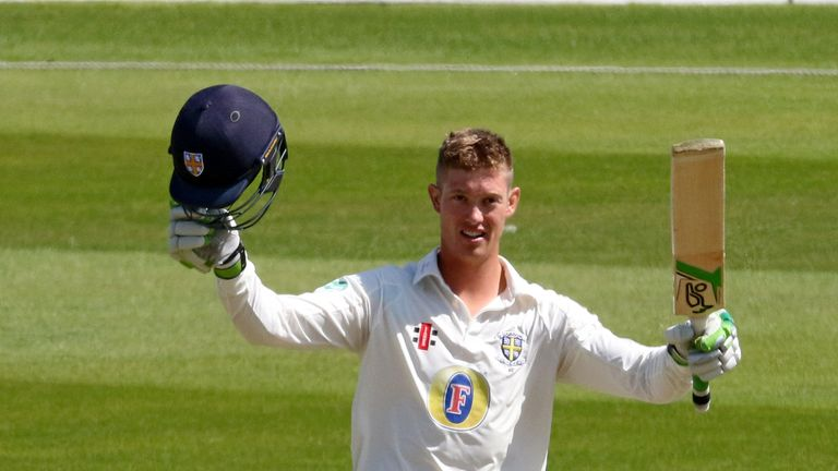 Keaton Jennings celebrates a maiden first-class double hundred against Yorkshire in 2016
