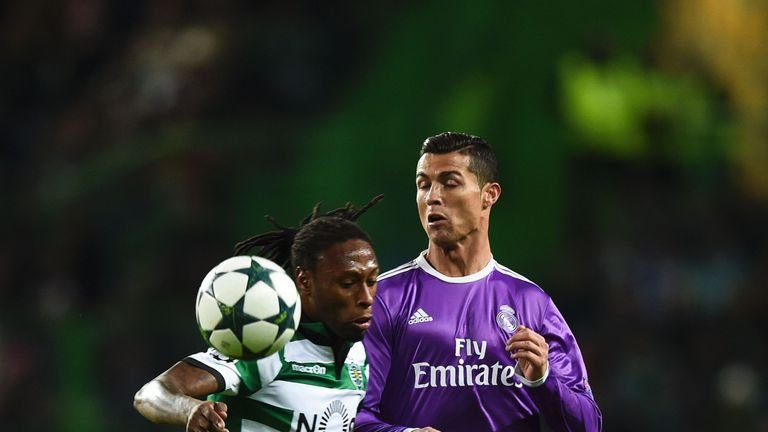 Cristiano Ronaldo (right) vies with Sporting Lisbon defender Ruben Semedo during the Champions League group stage match in November last year
